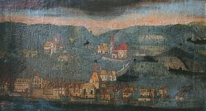 Abb. eines Ausschnittes eines historischen Gemäldes, das Emmersdorf um 1670 von der Donau aus betrachtet darstellt.