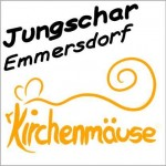 """Abbildung des Logos der Jungschar Emmersdorf. Im oberen Drittel der Name, darunter eine stilisierte Maus. Unter ihr der Begriff """"Kirchenmäuse""""."""